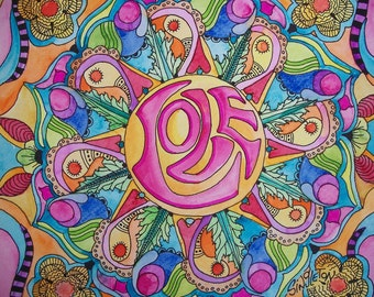 Love Mandala, Hippie Art, Singleton Art, Meditation art, Hippie Decor, Hippie Wall Art, Peace love, Valentine Art, Original watercolor