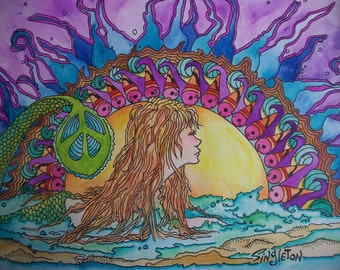 Mermaid Painting, Original Singleton Art, Peace Sign, Mermaid Peace, Mermaid in Ocean, Ocean Sunset, Ocean Sunrise, peaceful mermaid