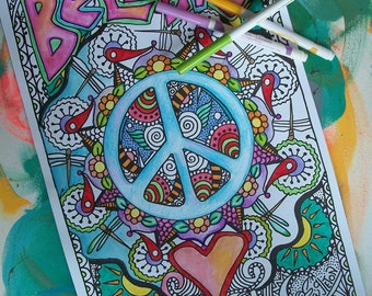 Hippie Coloring Pages, Believe in Peace and Love, Set of 2Posters, Singleton Hippie Art