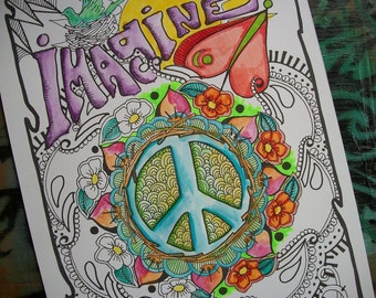 Hippie Art Coloring Pages, Imagine, Set of 2 Posters, Singleton Hippie Art