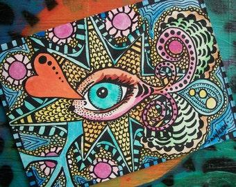 SALE, I see You, Singleton Hippie Art, all seeing eye, evil eye, eyeball art, small art original art