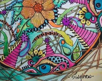 Psychedelic Art, Bird Nest Art, Singleton hippie art, evil eye art, garden mandala, flower mandala, hippie, original mandala, zen art