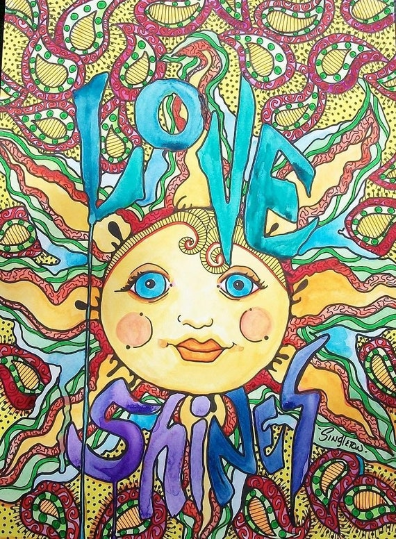 Items similar to love shines singleton hippie art for Art sites like etsy