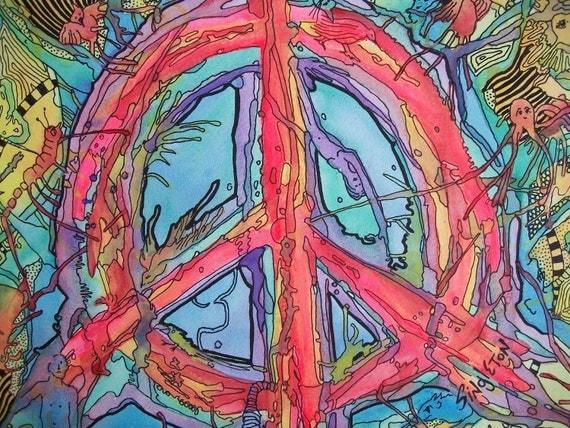 Psychedelic Dreams, Hippie Art Original by Singleton