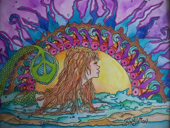 Mermaid Painting, Original Singleton Art, Peace Sign, Mermaid Peace, Mermaid in Ocean, Ocean Sunset, Ocean Sunrise, peaceful mermaid