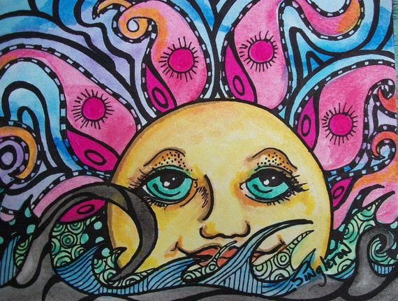 Psychedelic Sun and Sea, Singleton Hippie Art , Oceanscape, tangle style, Sunrise art, sunset art, Good Morning Sunshine