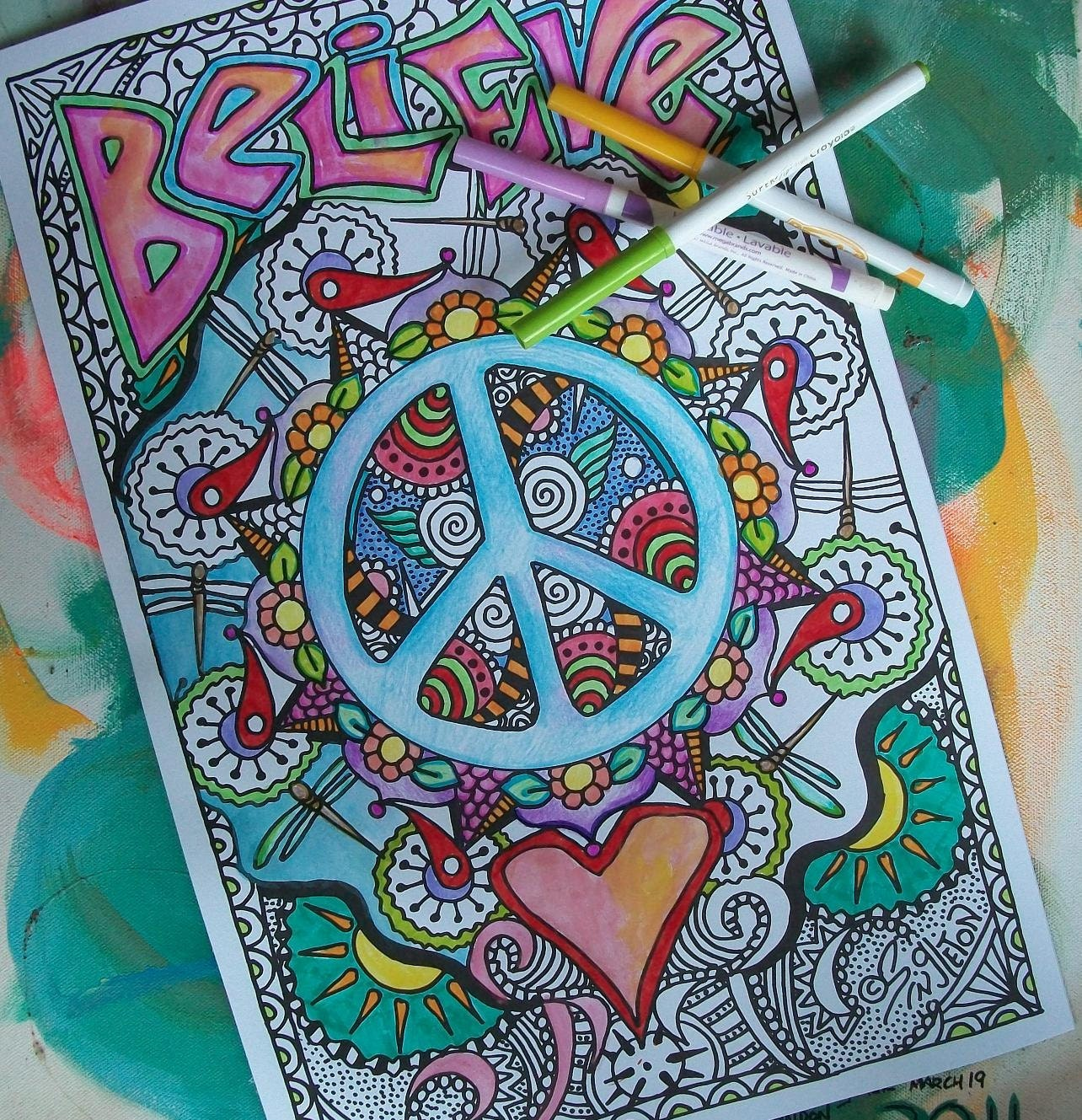 zoom - Psychedelic Hippie Coloring Pages