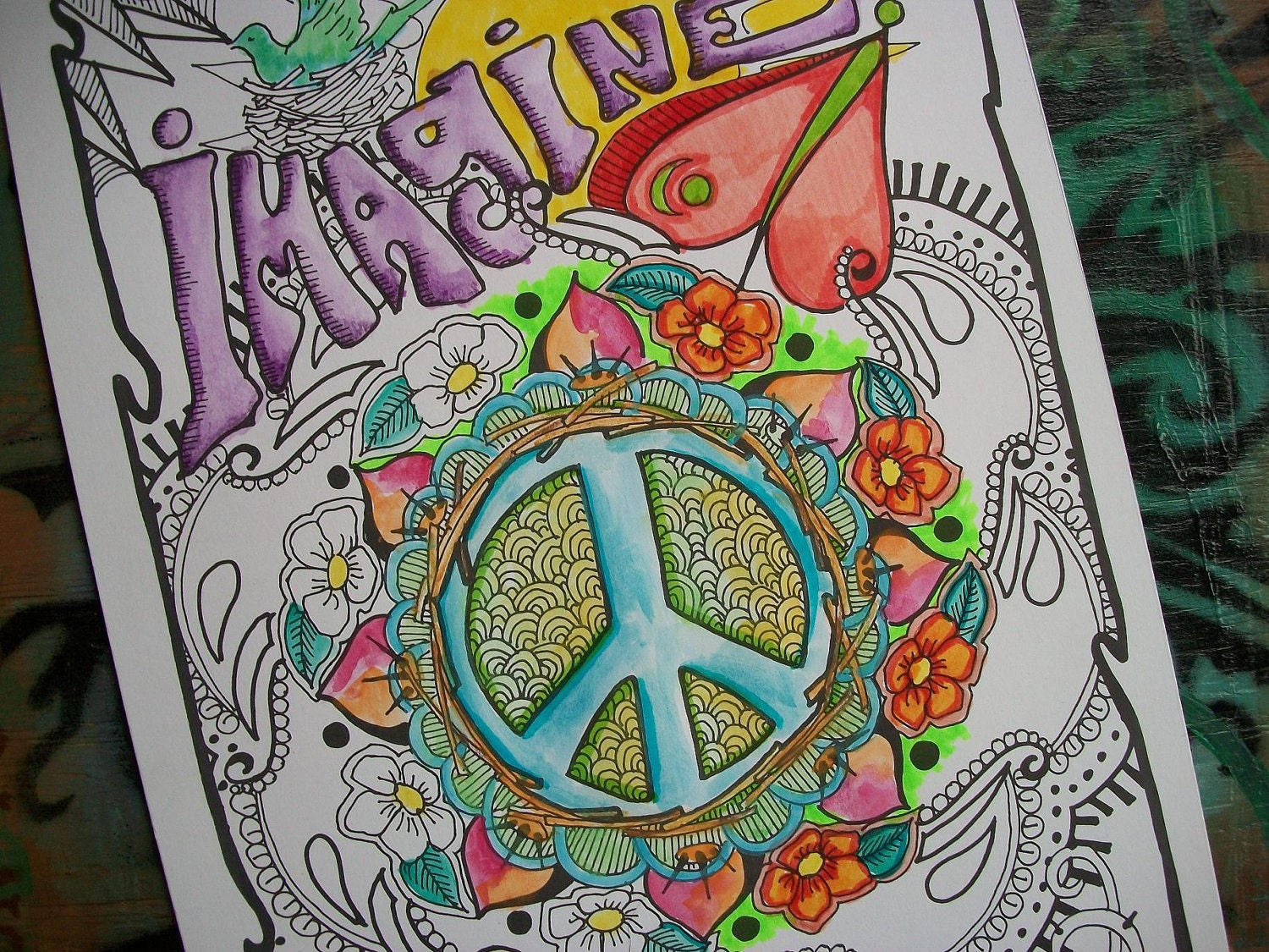 Hippie art coloring pages imagine set of 2 posters for Poster psichedelici