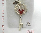 The key to confidence- silver with carnelian key pendant