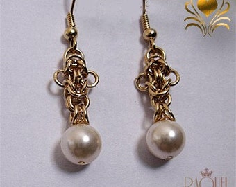 Goldy bees - Goldy byzantine bees pearls errings