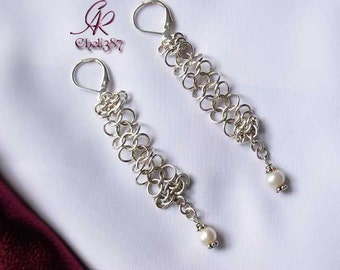 Chainmail sterling silver earrings with pearls