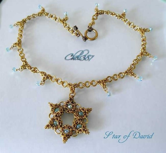 Star of  David with aquamarine swarovski crystals chainmaile necklace