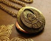 OCT. SALE The Winged Scarab Locket - vintage locket