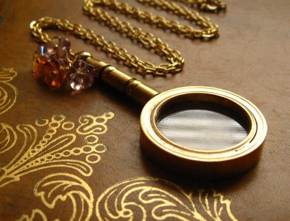 The Nancy Drew Necklace - working magnifying glass, glass flowers