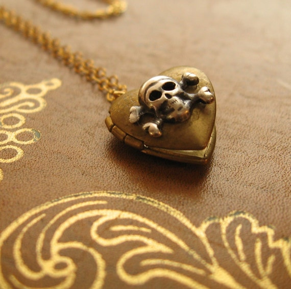 The In Love and War Locket - vintage heart locket, 14k gold fill chain and clasp