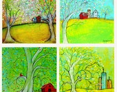 """Home Collection: Print Set of Mixed Media Tree paintings,  (4) - 5 x 5"""" prints"""