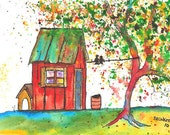 "Garden Shed, 5 x 7"" Print of watercolor illustration"