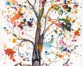 October Tree 2011, 5 x 7 inch, PRINT of Original watercolor painting,