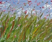 SALE, Pink Spring Frenzy, Flowers in Oil, ORIGINAL Oil Painting, 12 x 24 inches, gallery wrap canvas