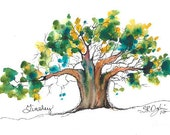 """Tinsley, Tree, ACEO Print of watercolor, 2.5"""" x 3.5"""""""