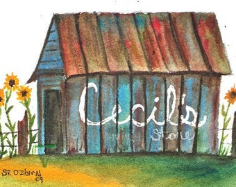 Cecil's Store, ACEO, PRINT of watercolor, signed