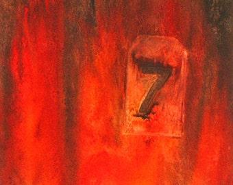 Lucky Seven, abstract original watercolor
