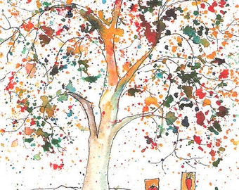 Time to Plant Tree 4 x 6 print of watercolor