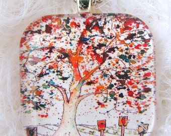 Time to Plant Tree, Art Pendant and Necklace, glass tile. Created with an exclusive Shelley Roze image.