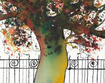 Memphis Tree, 8 x 10 inch, ORIGINAL Watercolor Painting