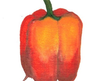 Red Bell, 5 x 5 inch, ORIGINAL watercolor painting, custom matte included, by SR Ozbirn