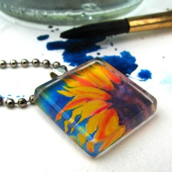 Sunflower Blaze, glass tile ART pendant necklace