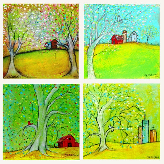 "Home Collection: Print Set of Mixed Media Tree paintings,  (4) - 5 x 5"" prints"