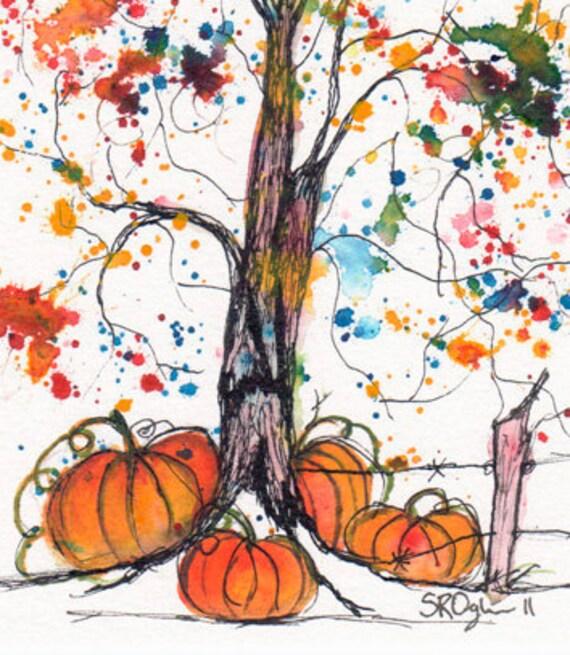 October Tree 2011, ORIGINAL watercolor painting, 5 x 7, was 30 dollars