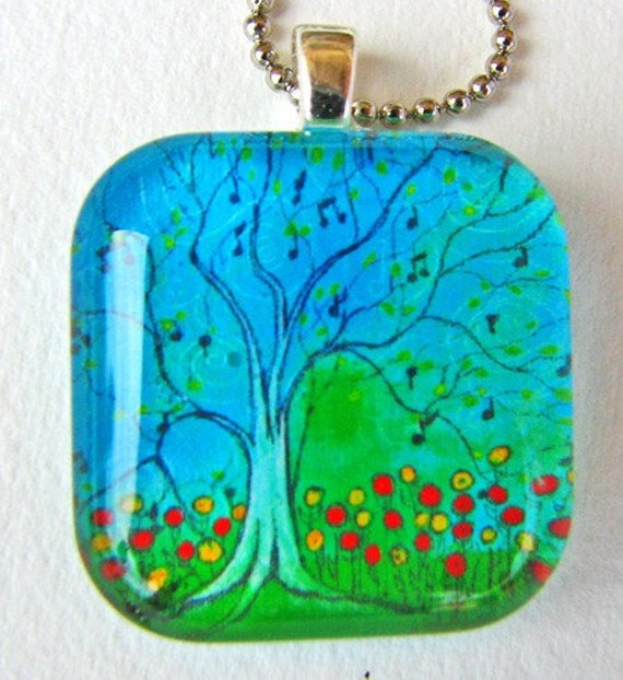 Sing Tree, Art Pendant and Necklace, glass tile. Created with an exclusive Shelley Roze image.