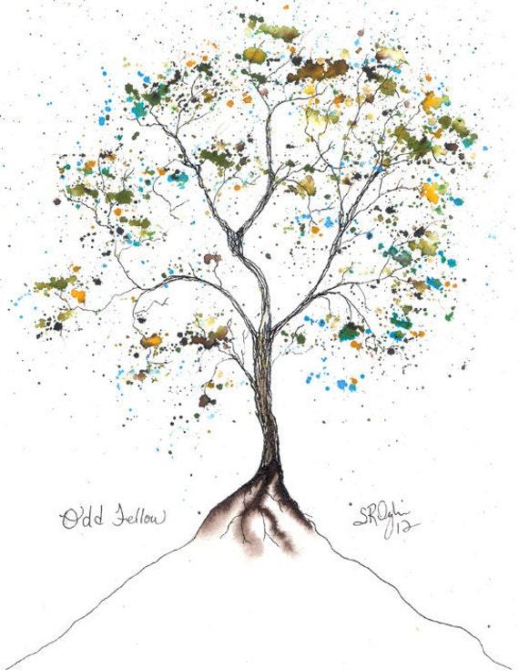 Odd Fellow, Tree,  Original 8x10 watercolor and ink