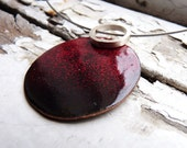 Incompatibility Pendant - Black and red enamels - Sterling silver and copper