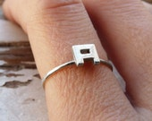 Initial Ring, Sterling silver, Made to order, Custom Ring, Letter, Ring Lyrics, Personalized