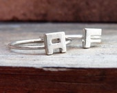 Personalized jewelry, Sterling silver Stacking rings, Two Initial Rings, Made to order, Custom Ring, Letter, Ring Lyrics, Personalized