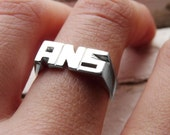 Personal Ring, Sterling silver, Signet ring, Name Ring, Initials ring, Monogram Ring, Made to order - Sizes 1 to 8 1/2 - 3 Letters