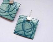 Enamel earrings - Sea breeze Earrings- Turquoise  Enamel -  Sterling silver and copper - Stencil