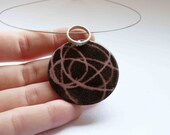 """Necklace made of Pink and Black Enamels, """"Stencil Pendant"""",  Sterling silver and copper , Romantic Rose color, Round necklace"""
