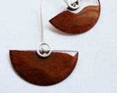 Enameled Earrings, Sterling silver  and Copper, Habano, Brown, Caramel, Semicircle design, dangle, Large earrings