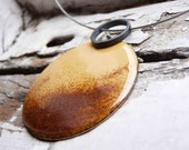 Sun Pendant - Corn yellow and tan enamels- Sterling silver and copper - Goldenrod - Setting sun