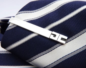 Men's tie bar clip made of Sterling Silver, Custom Personal tie tack, Gift for graduations Father's Day Anniversary  Wedding