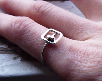 Quadrate Dots Ring  made of  Sterling silver and copper,  Made to order in your size, Simple ring, geometric, Modern Metal Handmade Jewelry