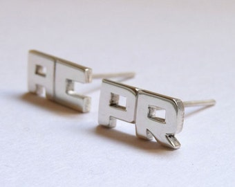 Word earrings, Earrings with Two Letters made to Sterling silver, Stud earrings, Personalized,  Made to order, Custom Earrings