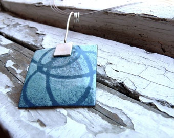 Sea breeze Necklace - Turquoise  Enamel -  Sterling silver and copper