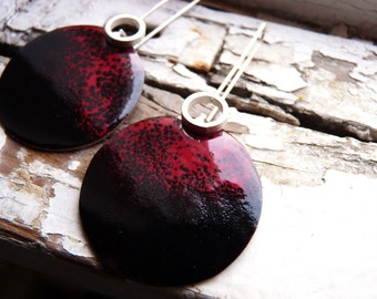 Incompatibility Enamel Earrings, Black and red enamels, Sterling silver and copper, Enamel Jewelry