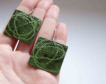 Stencil greeny earrings - Green and black enamels- Sterling silver and copper - Enamel earrings