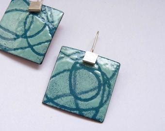 Robin's Egg Blue Enameled Earrings  Sea breeze Earrings Turquoise  Enamel  Sterling silver and copper Stencil